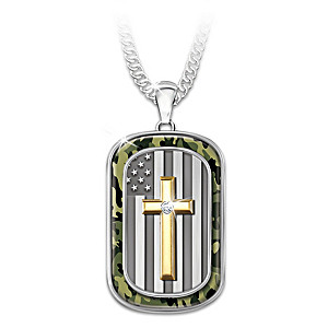 """My Country, My Faith"" Men's Diamond Dog Tag Necklace"