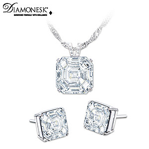 """Hollywood Royalty"" Diamonesk Necklace And Earrings Set"