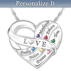 Love Holds Our Family Together Birthstone Pendant With Names