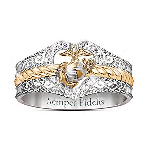 """Forever Faithful"" Women's Marine Corps Diamond Ring"