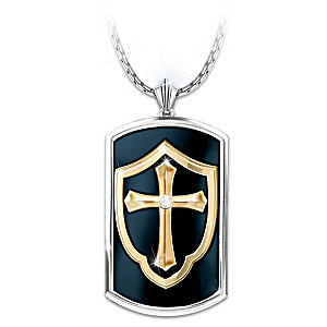 Shield of faith mens religious dog tag pendant necklace shield of faith mens dog tag pendant with white sapphire aloadofball Images