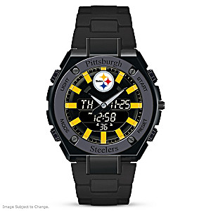 """It's Steelers Time!"" Men's Ani-Digi Stainless Steel Watch"