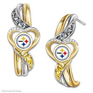 Steelers Pride Earrings With Team-Color Crystals