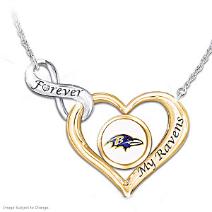 """Forever My Ravens"" NFL Heart-Shaped Diamond Necklace"