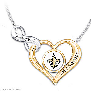 """Forever My Saints"" NFL Heart-Shaped Diamond Necklace"