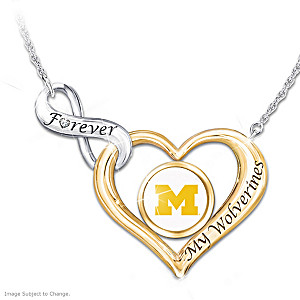 """""""Forever My Wolverines"""" Heart-Shaped Diamond Necklace"""