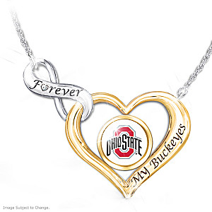 """Forever My Buckeyes"" Heart-Shaped Diamond Necklace"