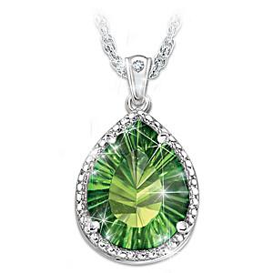 """Radiant Treasure"" Helenite And Diamond Pendant Necklace"