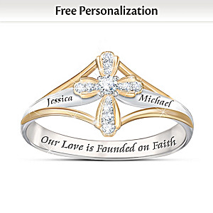 """Faith In Our Love"" Diamond Ring With Engraved Names"