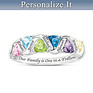 """""""One In A Trillion"""" Name-Engraved Family Birthstone Ring"""