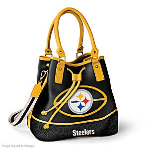 Pittsburgh Steelers Bucket Handbag With Team Logo
