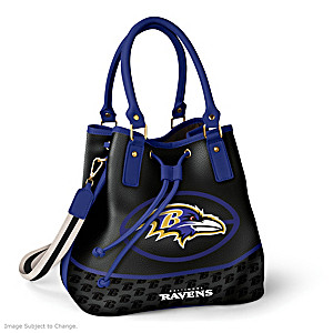 Baltimore Ravens Bucket Handbag With Team Logo
