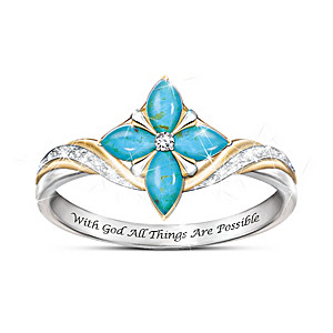 Pieces Of Heaven Women's Religious Turquoise & Diamond Ring