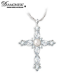 Freshwater Cultured Pearl And Diamonesk Cross Necklace