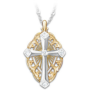 """Everlasting Light"" Diamond Cross Pendant Necklace With Card"
