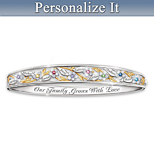 """Love Grows Here"" Birthstone Bracelet With Engraved Names"
