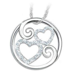 """""""Forever Mother & Daughter"""" White Topaz Pendant Necklace"""
