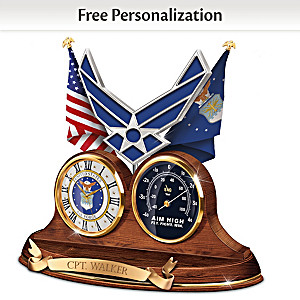 """Air Force Values"" Thermometer Clock With Custom Engraving"