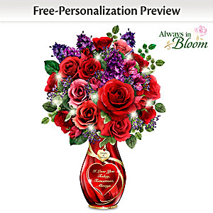 """Endless Romance"" Personalized Lighted Crystal Centerpiece"