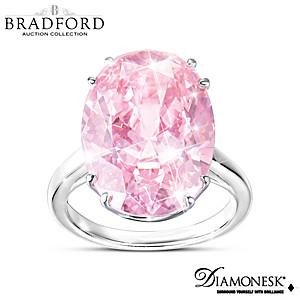 """Majestic Pink"" Diamonesk Simulated Pink Diamond Ring"