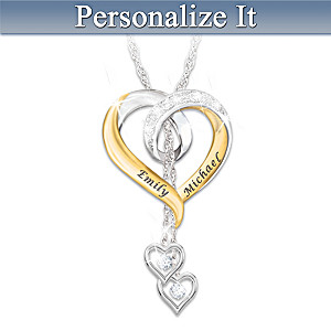 """Forever In Love"" Personalized Diamond Pendant Necklace"