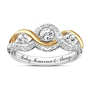 """I Love You Always"" Engraved White Topaz Women's Ring"
