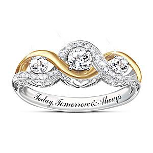 """""""I Love You Always"""" Engraved White Topaz Women's Ring"""