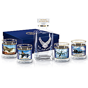 """Aim High"" 5-Piece Decanter Set With Air Force Imagery"