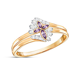 """""""Miracles Happen"""" Amethyst And Topaz Women's Ring"""