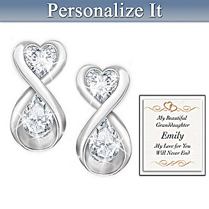 Topaz Earrings With Personalized Card For Granddaughter