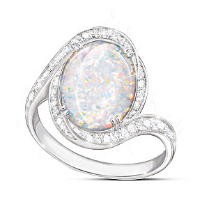"""Prisma Allure"" Diamonesk Simulated Australian Opal Ring"