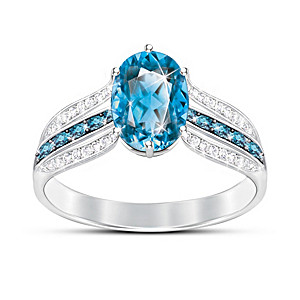 """Twilight Luster"" London Blue Topaz Women's Ring"