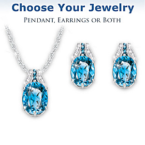 """Twilight Luster"" Blue Topaz Necklace And Earrings Set"