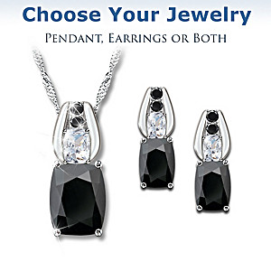 Black Spinel And White Topaz Necklace And Earrings Set