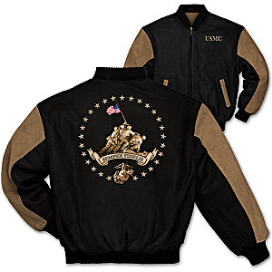 Semper Fi Men's Varsity-Style Twill Jacket With USMC Imagery