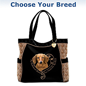 """Paw Prints On My Heart"" Quilted Tote Bag: Choose Your Breed"