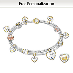 """Wishes For My Daughter"" Name-Engraved Birthstone Bracelet"
