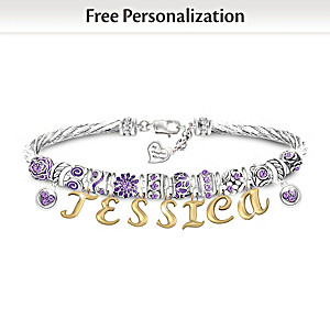 """My Daughter, My Love"" Crystal Birthstone Name Bracelet"