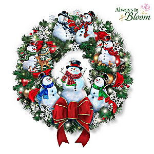 Dona Gelsinger Snow-Kissed Holiday Cheer Illuminated Wreath