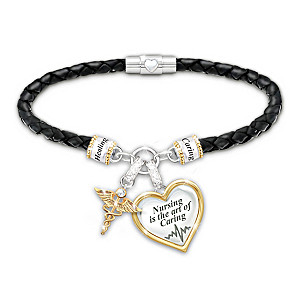 Braided Bracelet With 18K Gold-Plated Charms Honors Nurses
