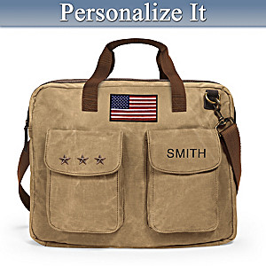 U.S.A. Pride Personalized Canvas Messenger Bag With Name