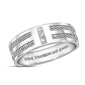 """Love Of My Life"" Engraved Diamond Men's Ring"