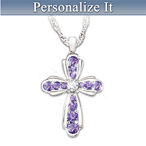 """My Dear Daughter"" Personalized Birthstone Cross Necklace"