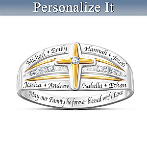 """""""Family Blessed With Love"""" Personalized Diamond Cross Ring"""