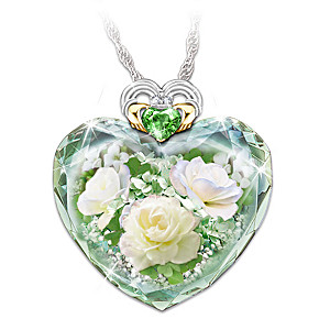 """Irish Rose"" Women's Crystal Heart-Shaped Pendant Necklace"