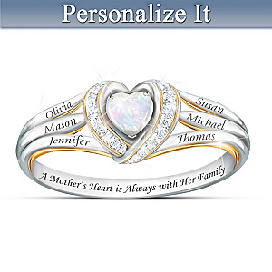 """A Mother's Joyful Heart"" Personalized Diamond And Opal Ring"