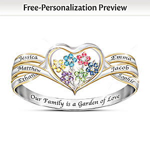 Our Family Is A Garden Of Love Personalized Birthstone Ring