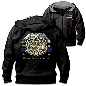 "Serve And Protect"" Men's Police Cotton Blend Knit Hoodie"
