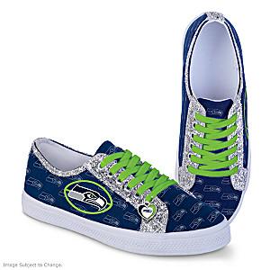 Seattle Seahawks Women's Shoes With Glitter Trim