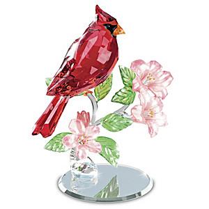 """Crimson King"" Faceted Crystal Cardinal Sculpture"
